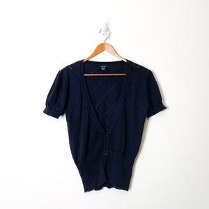 Marjora Black Short Sleeve Knit Y2K Cardigan